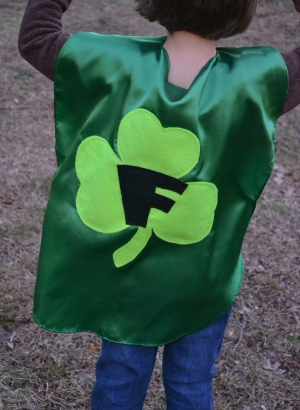 superhero costume,shamrock cape, kids cape